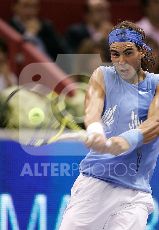 Spain's Rafael Nadal dduring Madrid Masters tennis tournament, October 14, 2008. (ALTERPHOTOS/Alvaro Hernandez)
