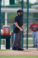 Umpire Trey Ward during a Gulf Coast League game between the GCL Twins and GCL Pirates on August 6, 2019 at Pirate City in Bradenton, Florida.  (Mike Janes/Four Seam Images)