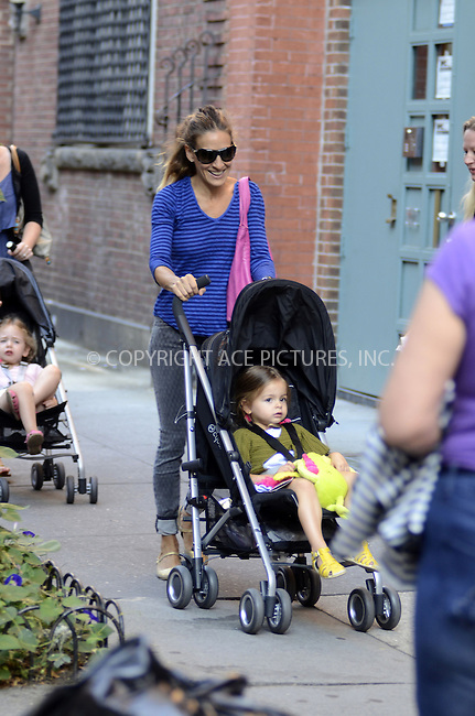 WWW.ACEPIXS.COM......September 13, 2012, New York City, NY.....Sarah Jessica Parker out for a stroll with her twin daughters on September 13, 2012 in New York City.......By Line: Curtis Means/ACE Pictures....ACE Pictures, Inc..Tel: 646 769 0430..Email: info@acepixs.com