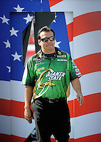 Sept. 6, 2010; Clermont, IN, USA; NHRA funny car driver Tony Pedregon during driver introductions prior to the U.S. Nationals at O'Reilly Raceway Park at Indianapolis. Mandatory Credit: Mark J. Rebilas-