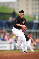 Quad Cities River Bandits starting pitcher Alex Winkelman (17) delivers a pitch during a game against the Burlington Bees on May 9, 2016 at Modern Woodmen Park in Davenport, Iowa.  Quad Cities defeated Burlington 12-4.  (Mike Janes/Four Seam Images)