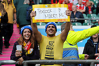 Wallabies fans send a personal message to David Pocock of Australia during Match 35 of the Rugby World Cup 2015 between Australia and Wales - 10/10/2015 - Twickenham Stadium, London<br /> Mandatory Credit: Rob Munro/Stewart Communications