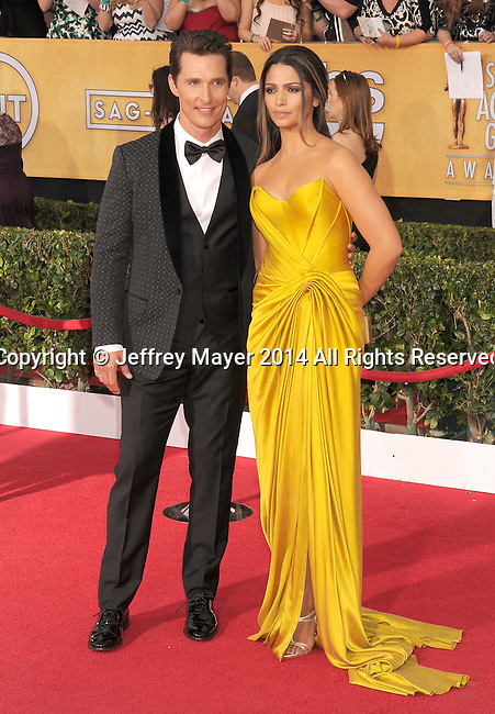 LOS ANGELES, CA- JANUARY 18: Actor Matthew McConaughey and model Camilla Alves arrive at the 20th Annual Screen Actors Guild Awards at The Shrine Auditorium on January 18, 2014 in Los Angeles, California.