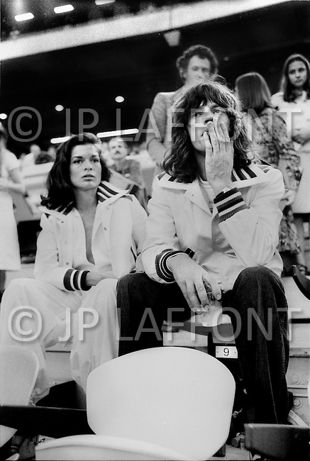 July 30th, 1976. Montreal, Canada. 21st Olympic games. Bianca and Mick Jagger came to see the victory in the Decathlon of the american athlete, Bruce Jenner who won the gold medal scoring 8,616 points, beating the world record.