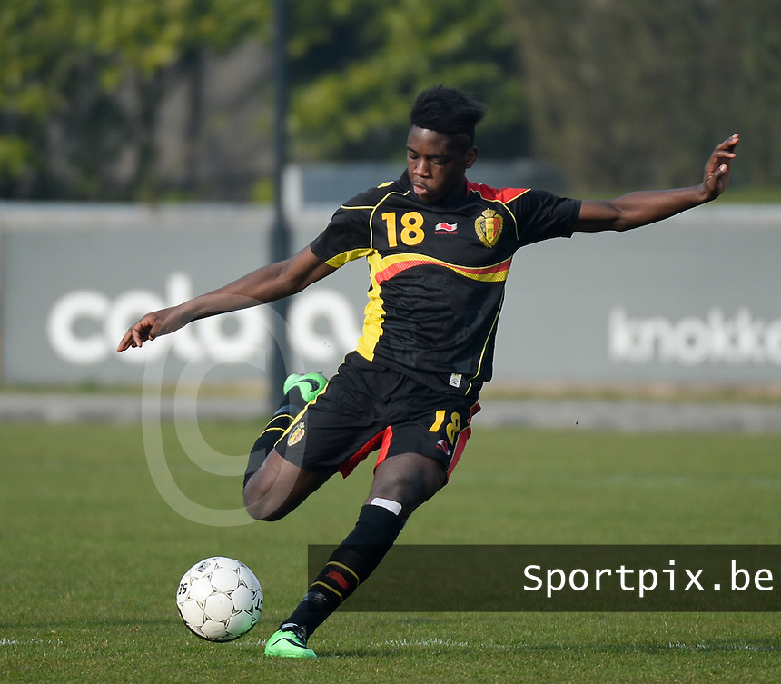 20140314 - HEIST , BELGIUM : Belgian Orel Mangala pictured during a friendly soccer match between the Under16 soccerteams of Belgium and Serbia , Friday 14 March 2014 in Heist . PHOTO DAVID CATRY