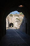 Walkway in former railway tunnels between La Cala del Moral and Rincon de la Victoria, Malaga province, Spain
