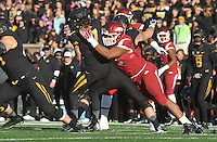 NWA Media/Michael Woods --11/28/2014-- w @NWAMICHAELW...University of Arkansas defensive end Trey Flowers knocks the ball out of the hands of Missouri quarterback Maty Mauk as he sacks the quarterback in the 2nd quarter of Fridays game against Missouri at Faurot Field in Columbia Missouri.