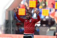 Wales Captain Ashley Williams during the homecoming celebrations at the Cardiff City stadium on Friday 8th July 2016 for the Euro 2016 Wales International football squad.<br /> <br /> <br /> Jeff Thomas Photography -  www.jaypics.photoshelter.com - <br /> e-mail swansea1001@hotmail.co.uk -<br /> Mob: 07837 386244 -