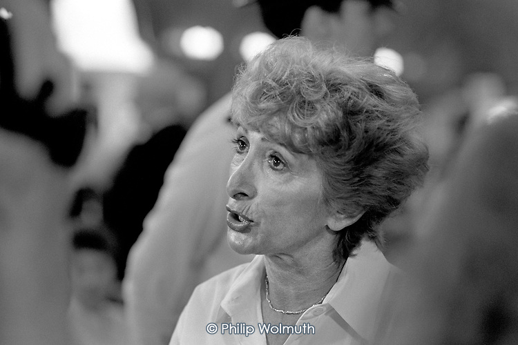 Lady Shirley Porter, leader of Westminster City Council, at the count for the 1990 local government elections in Porchester Hall, Bayswater.