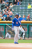 Darnell Sweeney (9) of the Oklahoma City Dodgers at bat against the Salt Lake Bees in Pacific Coast League action at Smith's Ballpark on May 25, 2015 in Salt Lake City, Utah.  (Stephen Smith/Four Seam Images)