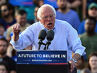 Washington, DC - June 9, 2016: 2016 presidential candidate Sen. Bernie Sanders speaks during campaign  rally on the grounds of RFK Stadium in the District of Columbia, June 9, 2016. Before the rally, Sanders met with President Obama.  (Photo by Don Baxter/Media Images International)