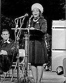 """Washington, D.C. - January 31, 2006 -- Coretta Scott King has passed away in Atlanta, Georgia at age 78.  This file photo, taken in Washington, D.C.  on October 15, 1969, shows Mrs. Martin Luther King, Jr. (Coretta Scott) addressing a mass rally on the grounds of the Washington Monument.  Mrs. King was one of the supporters of the nationwide moratorium for peace in Vietnam.  Following her speech, Mrs. King led a candlelight march from the monument past the White House where she lit a candle in honor of the United States dead in Vietnam..Credit: Benjamin E. """"Gene"""" Forte - CNP"""