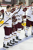 Isaac MacLeod (BC - 7), Patrick Wey (BC - 6), Michael Matheson (BC - 5) - The Boston College Eagles defeated the University of Vermont Catamounts 4-1 on Friday, February 1, 2013, at Kelley Rink in Conte Forum in Chestnut Hill, Massachusetts.