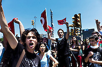 Turkey/Istanbul/3 june,2013. Anti-government demonstrators in Istanbul's Taksim Square.Thousands of  Anti-government Turkish protesters  fight with police and they called on Prime Minister Recep Tayyip Erdogan to resign. Giorgos Moutafis /Felix Features