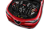 Car stock 2017 Alfa Romeo Giulia Quadrifoglio Base 4 Door Sedan engine high angle detail view