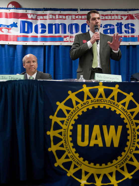 UNITED STATES  MARCH 17: Congressional candidates John Delaney, left, and Rob Garagiola participate in the Washington County Democratic Central Committee candidates forum at the UAW Hall in Hagerstown, Md., on Saturday, March 17, 2012. Delaney and four other Democrats will face off in a primary election to see who will face Rep. Roscoe Bartlett, R-Md., in November.  (Photo By Bill Clark/CQ Roll Call)