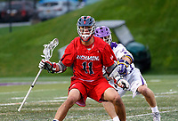 Ryan Lee (#11) works against the Albany defense as UAlbany Men's Lacrosse defeats Richmond 18-9 on May 12 at Casey Stadium in the NCAA tournament first round.