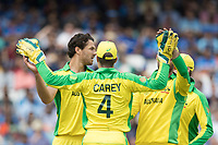 Alex Carey (Australia) and Nathan Coulter-Nile (Australia) celebrate the wicket of Rohit Sharma (India) during India vs Australia, ICC World Cup Cricket at The Oval on 9th June 2019