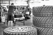 8th June 2017, Alghero, West Coast of Sardinia, Italty; WRC Rally of Sardina, Michelin tyres ready for fitting