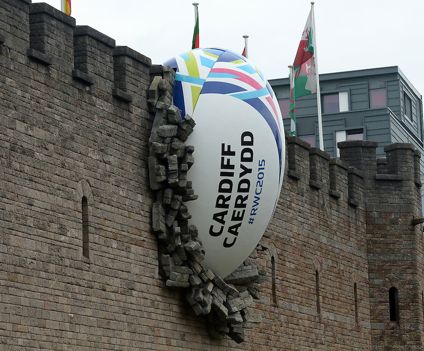Cardiff Castle with the RWC 1015 Ball in the wall <br /> <br /> Photographer Ian Cook/CameraSport<br /> <br /> Rugby Union - 2015 Rugby World Cup - Wales v Uruguay - Sunday 20th September 2015 - Millennium Stadium - Cardiff<br /> <br /> &copy; CameraSport - 43 Linden Ave. Countesthorpe. Leicester. England. LE8 5PG - Tel: +44 (0) 116 277 4147 - admin@camerasport.com - www.camerasport.com