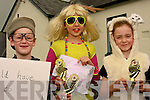 Fintan Whittaker, Eva Bell & Niamh Brosnan (winners of individual entries) Pictured at the Fancy Dress parade in the Knocknagoshel Festival on Friday