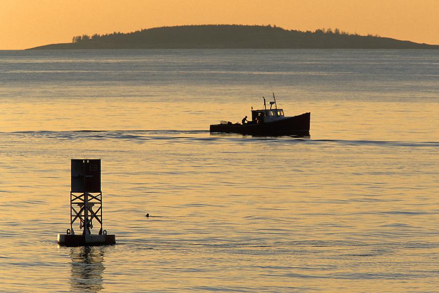 Fishing boat off the coast of Maine at sunrise, Atlantic Ocean, Maine