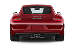 Straight rear view of a 2015 Porsche Cayman S 2 Door Coupe Rear View  stock images