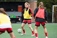 Allston, MA - Sunday, May 1, 2016:  Portland Thorns FC defender Emily Sonnett (16) during warmups before a match against the Boston Breakers at Jordan Field, Harvard University.