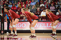 Stanford, CA - October 18, 2019: Audriana Fitzmorris, Jenna Gray, Holly Campbell at Maples Pavilion. The No. 2 Stanford Cardinal swept the Colorado Buffaloes 3-0.