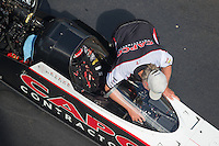 Sep 17, 2016; Concord, NC, USA; Crew chief Richard Hogan for NHRA top fuel driver Steve Torrence during qualifying for the Carolina Nationals at zMax Dragway. Mandatory Credit: Mark J. Rebilas-USA TODAY Sports