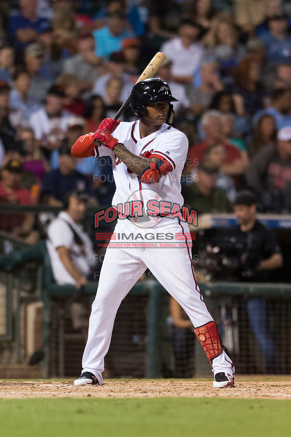 AFL West center fielder Cristian Pache (27), of the Peoria Javelinas and Atlanta Braves organization, at bat during the Arizona Fall League Fall Stars game at Surprise Stadium on November 3, 2018 in Surprise, Arizona. The AFL West defeated the AFL East 7-6 . (Zachary Lucy/Four Seam Images)