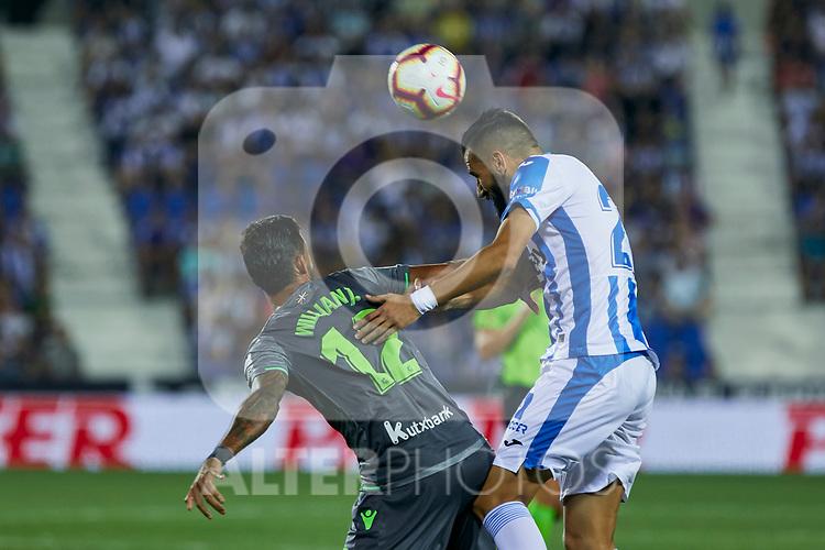 Leganes' Juan Francisco Moreno and Real Sociedad's Willian Jose Da Silva during La Liga match. August 24, 2018. (ALTERPHOTOS/A. Perez Meca)