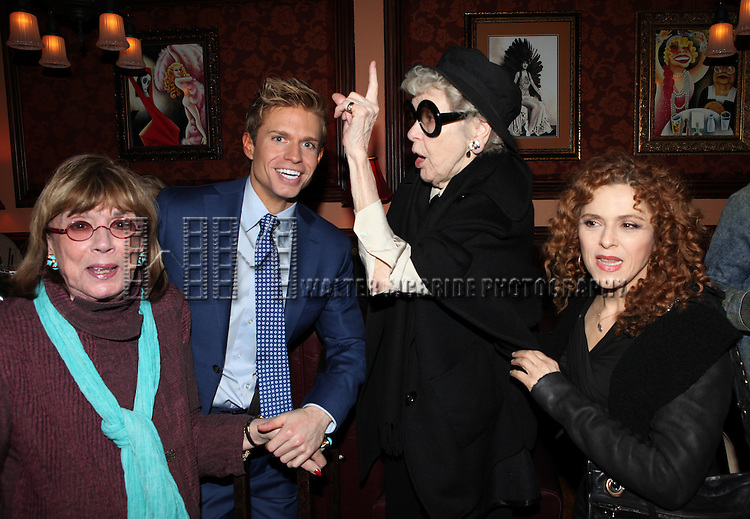 Phyllis Newman, Hunter Ryan Herdlicka, Elaine Stritch & Bernadette Peters  attending a reception celebrating Hunter's 54 Below debut with 'You Make Me Feel So Young'  in New York City on 3/25/2013