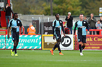 The Wycombe players look dejected after conceding their side's 2nd goal during the Sky Bet League 2 match between Stevenage and Wycombe Wanderers at the Lamex Stadium, Stevenage, England on 17 October 2015. Photo by PRiME Media Images.