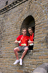 Multiple medal winners, Matthew Cowdrey and Peter Leek proudly display their medals on the Great Wall of China, Badaling.