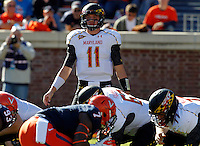 Maryland Terrapins quarterback Perry Hills (11) looks for the play call during the game against Virginia in Charlottesville, Va. Maryland defeated Virginia 27-20.