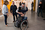 Javier Gutierrez, paralympic Swimmer Teresa Perales and Javier Fesser during the presentation of the new Javier Fesser short film &quot;Servicio Tecnico&quot;,in Madrid, March 15, 2016<br /> (ALTERPHOTOS/BorjaB.Hojas)