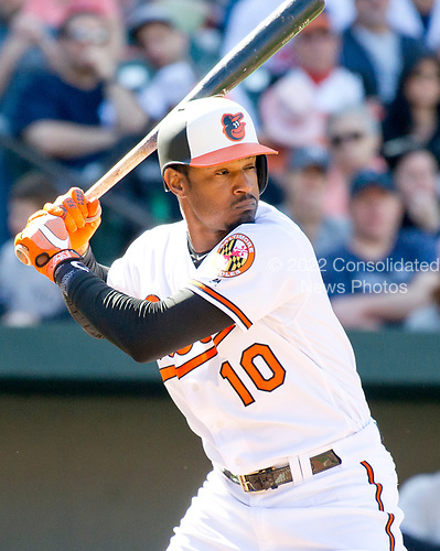 Baltimore Orioles center fielder Adam Jones (10) bats in the bottom of the seventh inning against the New York Yankees at Oriole Park at Camden Yards in Baltimore, MD on Sunday, April 9, 2017.  The Yankees won the game 7 - 3. <br /> Credit: Ron Sachs / CNP<br /> (RESTRICTION: NO New York or New Jersey Newspapers or newspapers within a 75 mile radius of New York City)