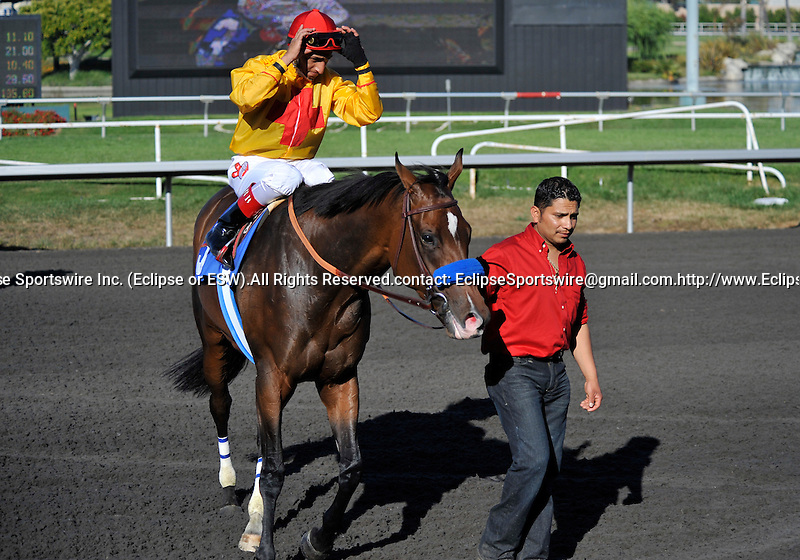 09 July 11: Rafael Bejarano rides Tuscan Evening (no. 3) to victory in the 12th running of the grade 2 Royal Heroine Mile Stakes for fillies and mares three year olds and upward at Hollywood Park in Inglewood, California.