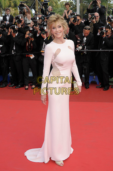 JANE FONDA.arrives at the 'Sleeping Beauty' premiere during the 64th Annual Cannes Film Festival at the Palais des Festivals in Cannes, France, May 12, 2011..full length white dress long sleeve maxi  mesh cut out sheer see thru through .CAP/PL.©Phil Loftus/Capital Pictures.