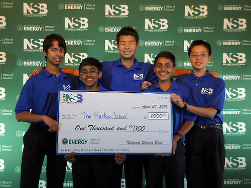 The Harker School - MS - Middle School - MS Science Bowl team, Arjun. S, Rajiv. M, Edgar. L, Venkat. S and David. Z., in Washington, DC for the National Science Bowl competition - Photo by Vandana Kadam