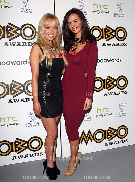 Jorgie Porter and Jennifer Metcalfe in the press room for The MOBO awards 2012 held at the Echo Arena, Liverpool. 03/11/2012 Picture by: Henry Harris / Featureflash