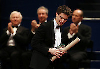 PICTURE BY VAUGHN RIDLEY/SWPIX.COM - Leeds International Piano Competition 2012 - Leeds Town Hall, Leeds, England - 15/09/12 - Andrew Tyson of the USA with the 5th place Award.