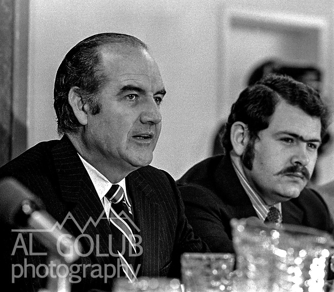 US Senator George S. McGovern Democrat from South Dakota visited Modesto, California to hold a Hearings of the US Senate select committee on nutrition and human needs on March 23, 1970.  Hearing subject was the Modesto Board of Education's decision to withdraw from the National School Lunch Program.  Over 200 persons crowed into the King-Kennedy Memorial Center on Modesto's West Side to hear different viewpoints.  McGovern and Committee's attorney Gerald Cassidy listen to testimony during hearing.   Photo By Al Golub