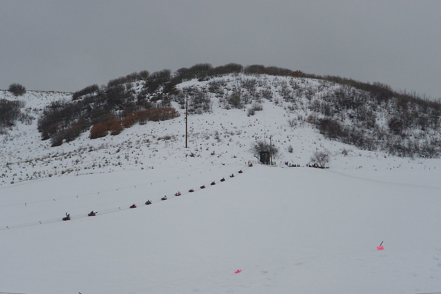 Tubing at Saddleback Ranch, Steamboat Springs, Colorado, US