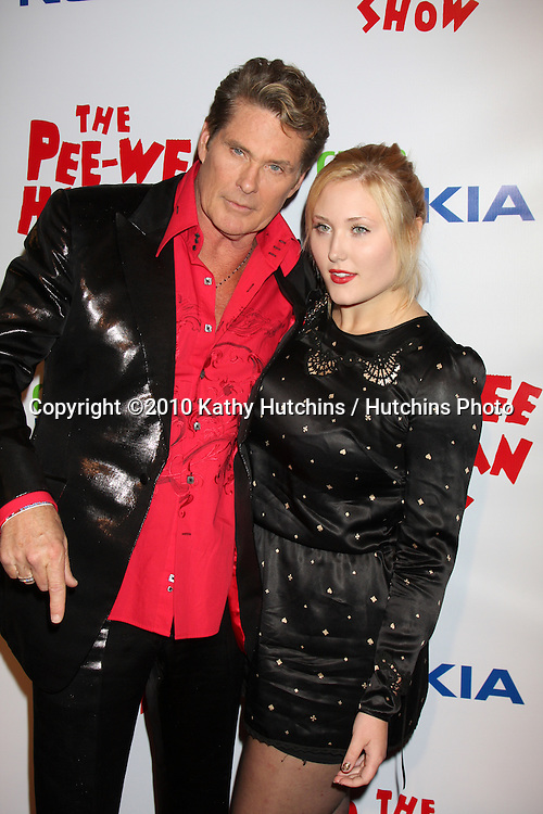 "David & Hayley Hasselhoff.arriving at the ""The Pee Wee Herman Show"" Opening Night..Club Nokia.Los Angeles, CA.January 20, 2010.©2010 Kathy Hutchins / Hutchins Photo...."