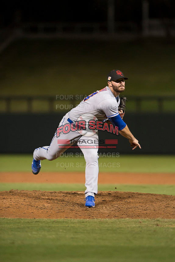 Scottsdale Scorpions relief pitcher Joe Zanghi (54), of the New York Mets organization, follows through on his delivery during an Arizona Fall League game against the Salt River Rafters at Salt River Fields at Talking Stick on October 11, 2018 in Scottsdale, Arizona. Salt River defeated Scottsdale 7-6. (Zachary Lucy/Four Seam Images)