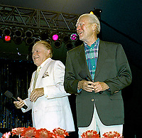 Winston-Salem, North Carolina, USA, May 31,1991<br /> Bob Hope and Former President Gerald R. Ford on stage at the annual Bill Crosby Clambake Golf Tournament at the Bermuda Run Country Club. Credit: Mark Reinstein/MediaPunch
