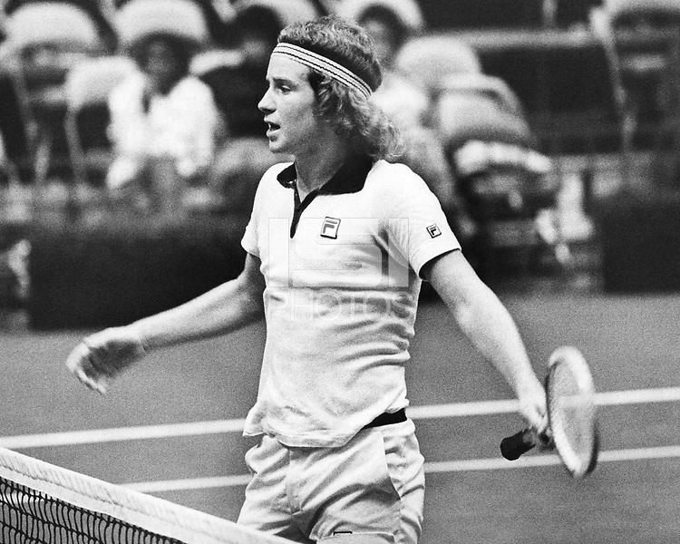 28 September 1977: Stanford Cardinal men's tennis player John McEnroe.