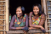 A-Ukre village, Brazil. Paiponu and Paingroti, two Kayapo women; Xingu Indigenous Area, Para State.